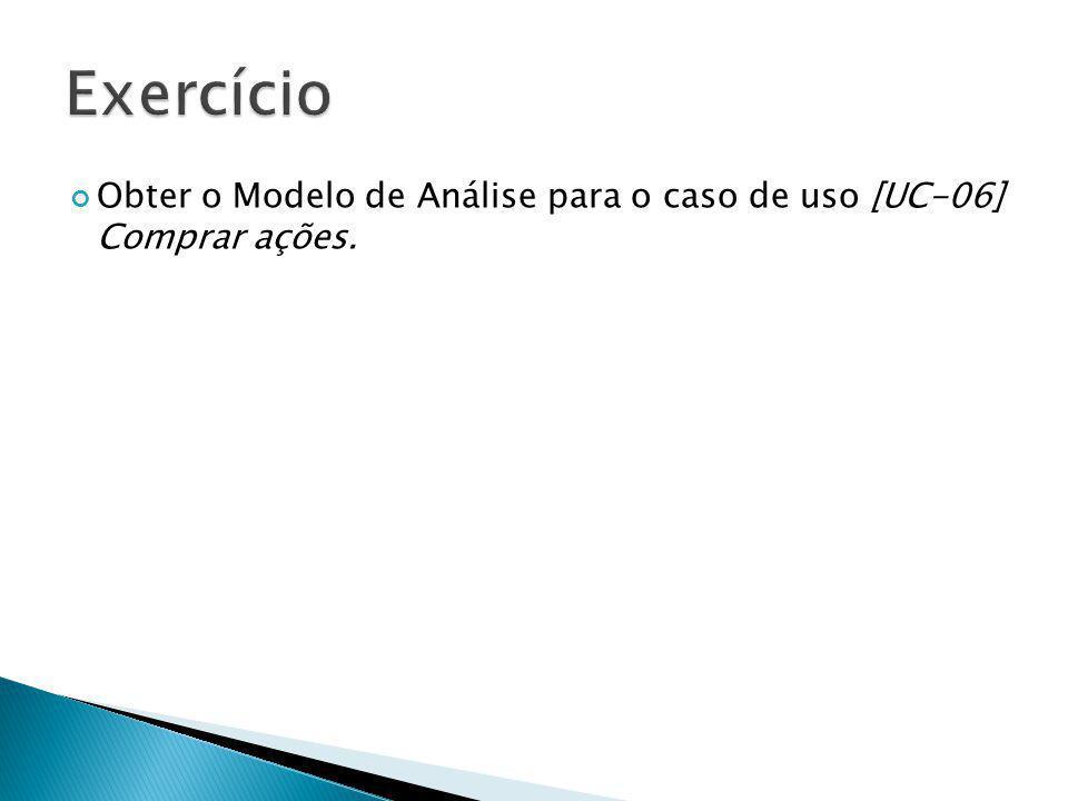 Exercício Obter o Modelo de Análise para o caso de uso [UC-06] Comprar ações.